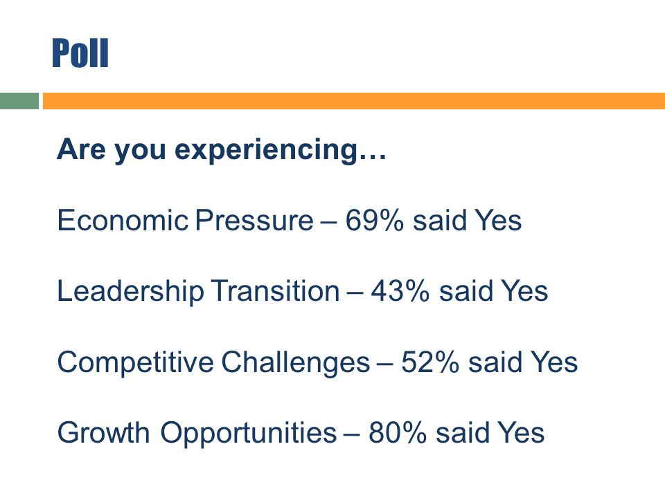 Poll Are you experiencing… Economic Pressure – 69% said Yes Leadership Transition – 43% said Yes Competitive Challenges – 52% said Yes Growth Opportunities – 80% said Yes