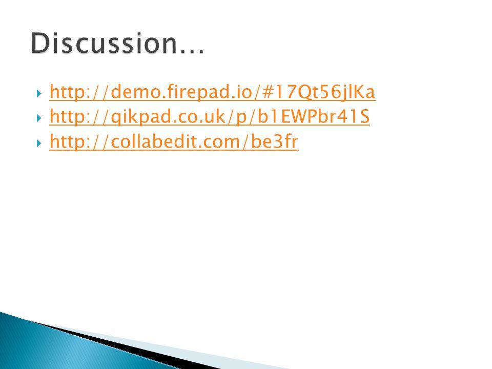  http://demo.firepad.io/#17Qt56jlKa http://demo.firepad.io/#17Qt56jlKa  http://qikpad.co.uk/p/b1EWPbr41S http://qikpad.co.uk/p/b1EWPbr41S  http://c