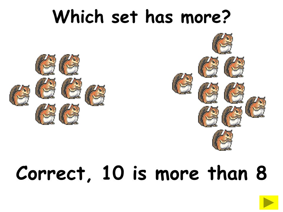 Which set has less? Correct, 7 is less than 10