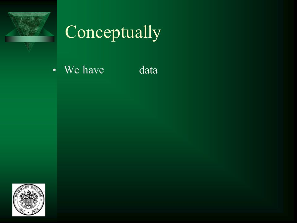 Conceptually We have data