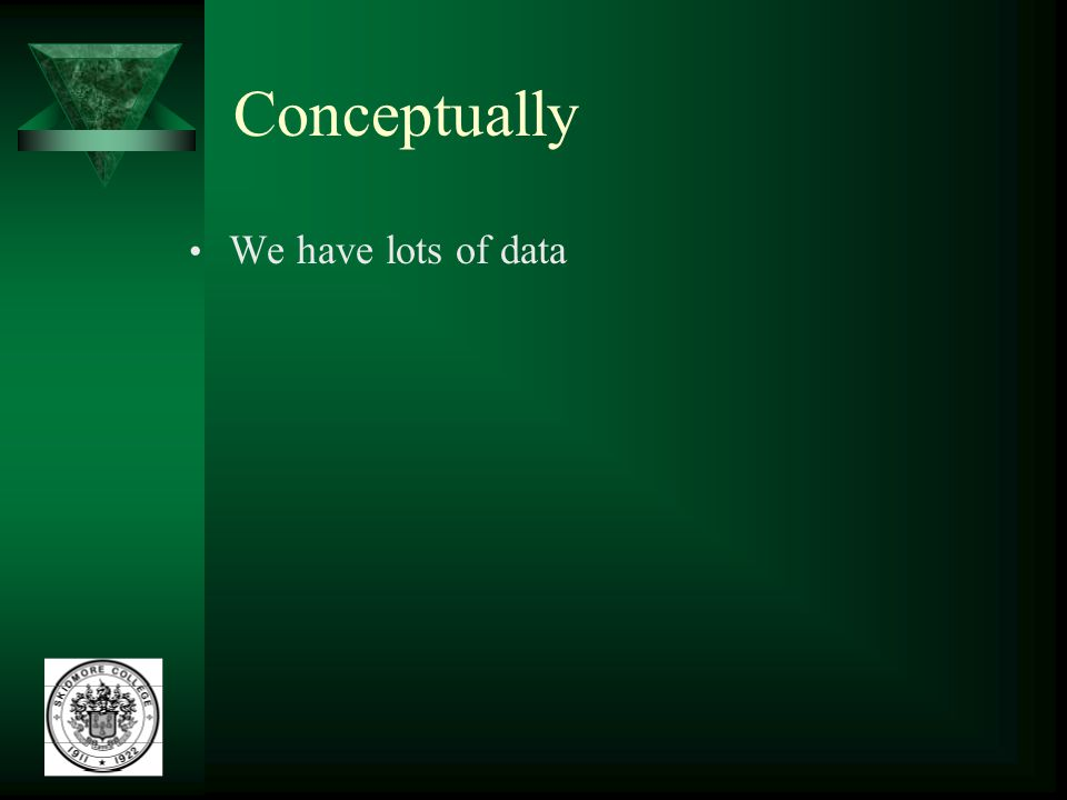 Conceptually We have lots of data