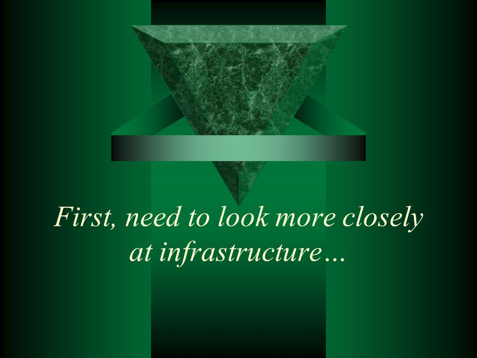 First, need to look more closely at infrastructure…