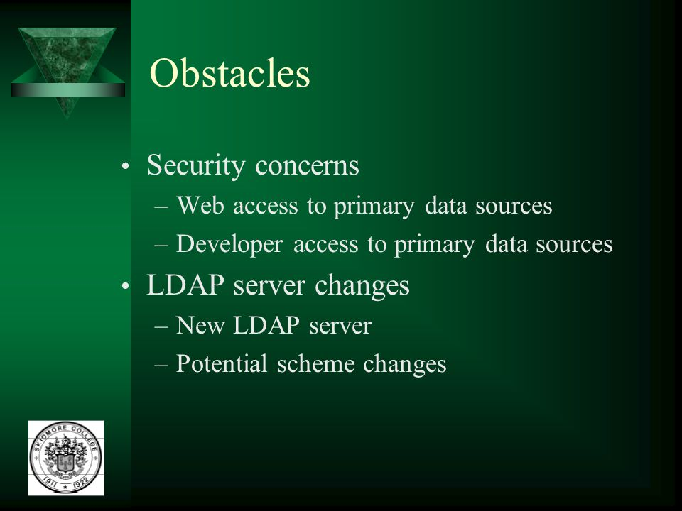 Obstacles Security concerns –Web access to primary data sources –Developer access to primary data sources LDAP server changes –New LDAP server –Potent