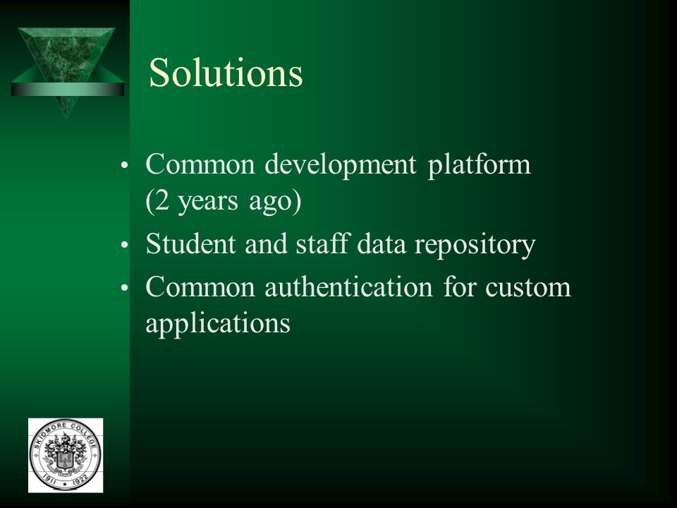 Solutions Common development platform (2 years ago) Student and staff data repository Common authentication for custom applications