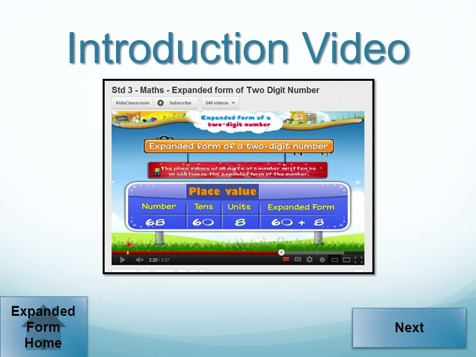 Introduction Video Next Expanded Form Home
