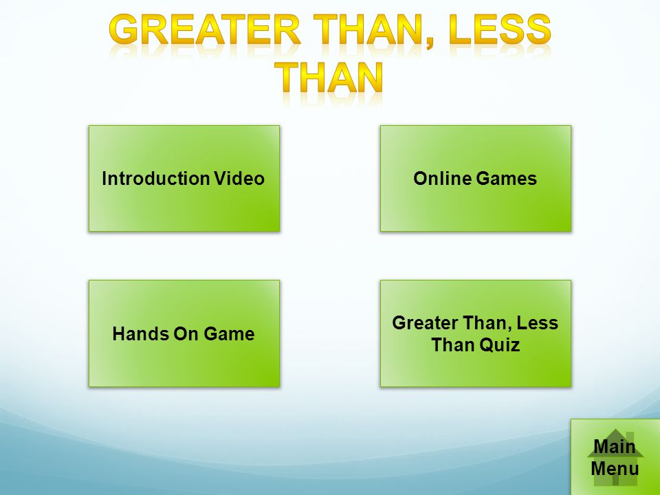 Introduction VideoOnline Games Hands On Game Greater Than, Less Than Quiz Main Menu