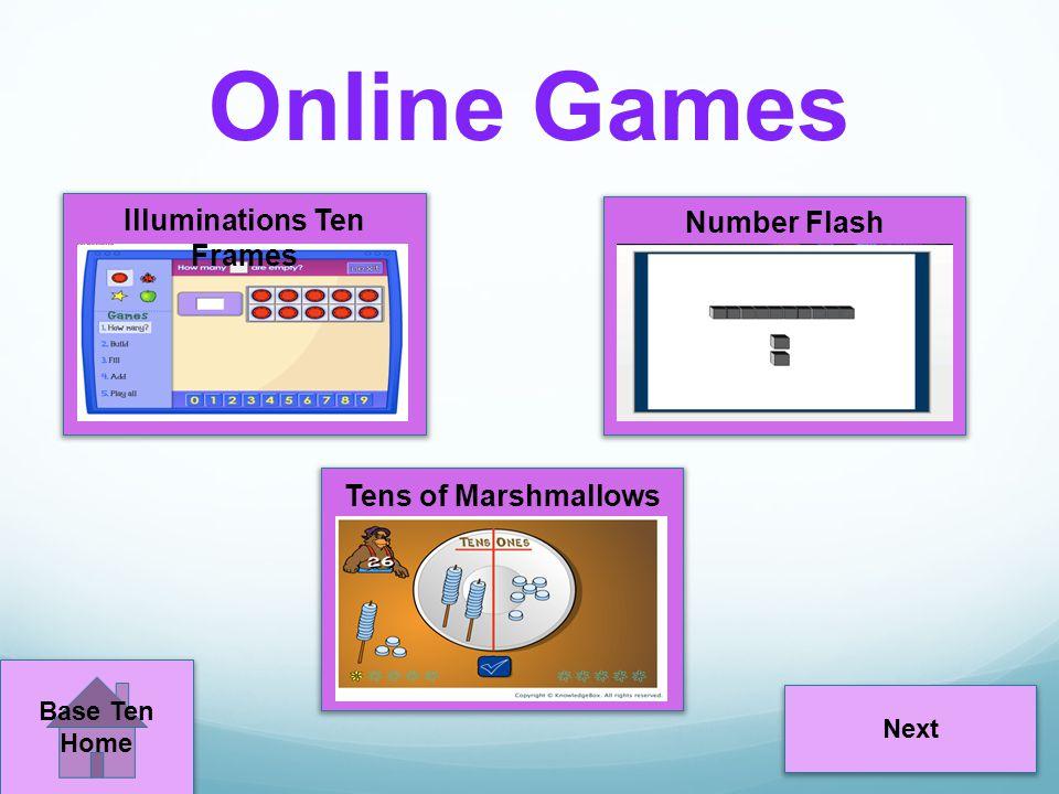 Online Games Next Illuminations Ten Frames Number Flash Tens of Marshmallows Base Ten Home