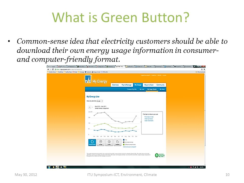 What is Green Button? Common-sense idea that electricity customers should be able to download their own energy usage information in consumer- and comp