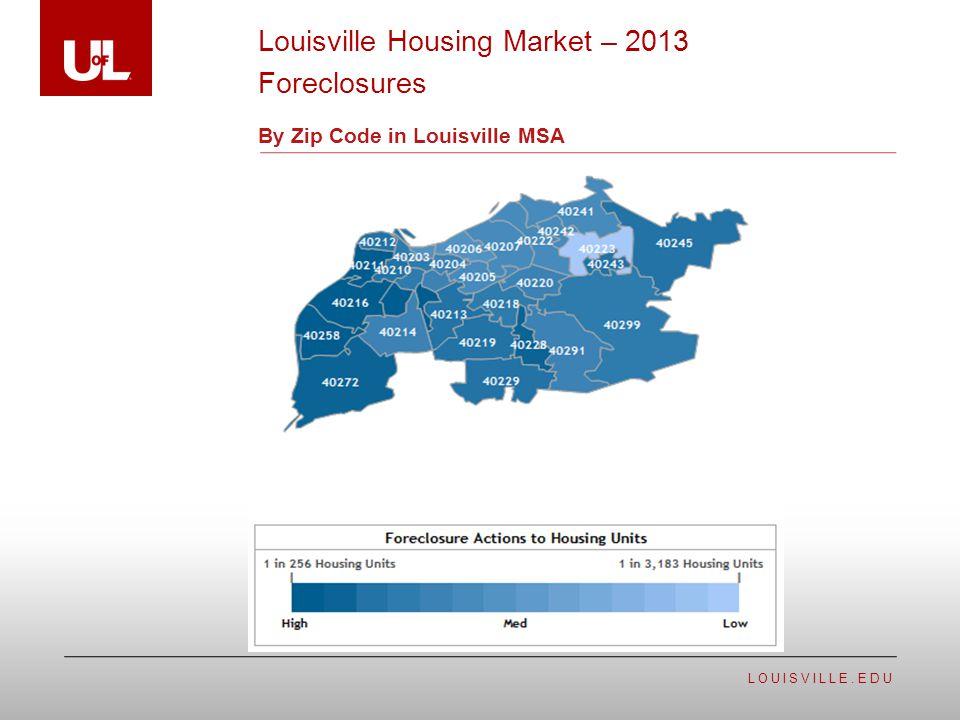 LOUISVILLE.EDU By Zip Code in Louisville MSA Louisville Housing Market – 2013 Foreclosures