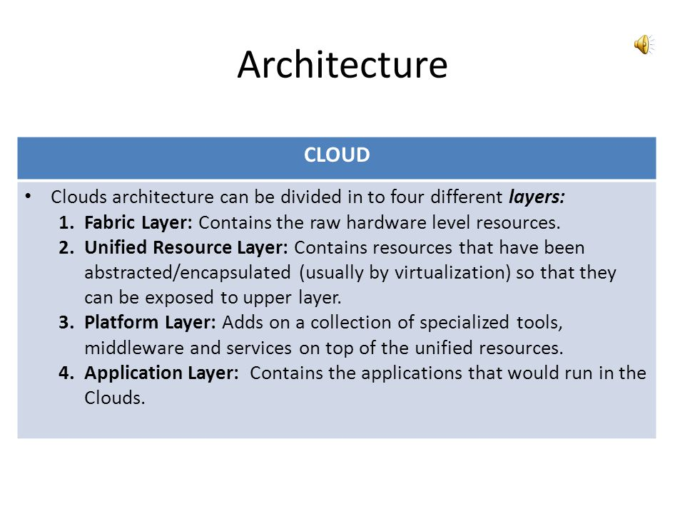 Architecture GRID Grids provide protocols and services at five different layers 1.Fabric Layer: Provides access to different resource types such as co