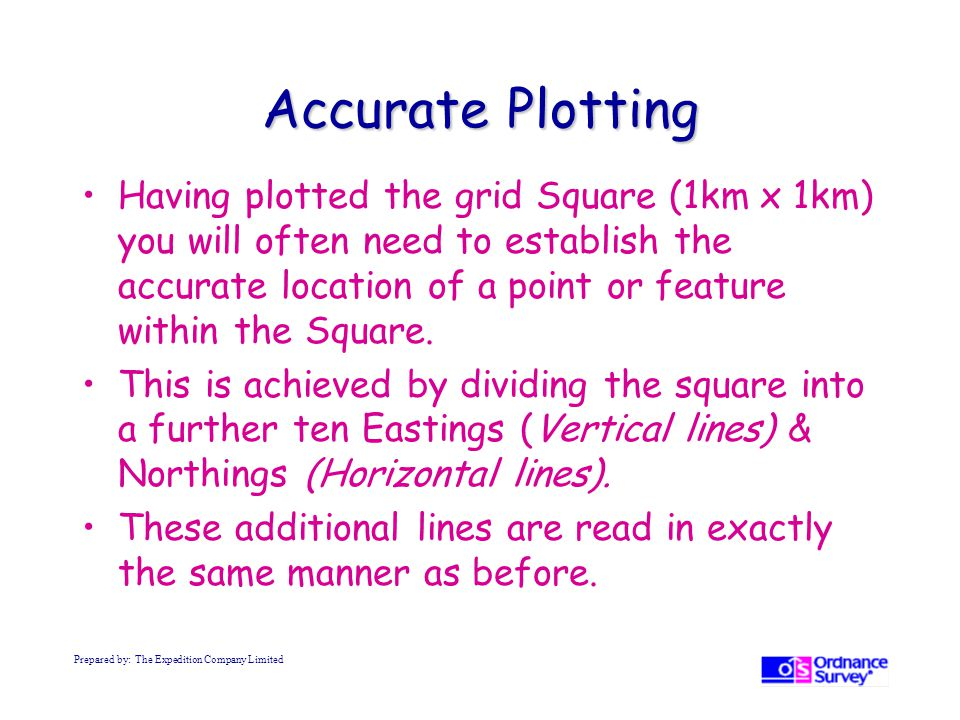 Accurate Plotting Having plotted the grid Square (1km x 1km) you will often need to establish the accurate location of a point or feature within the Square.