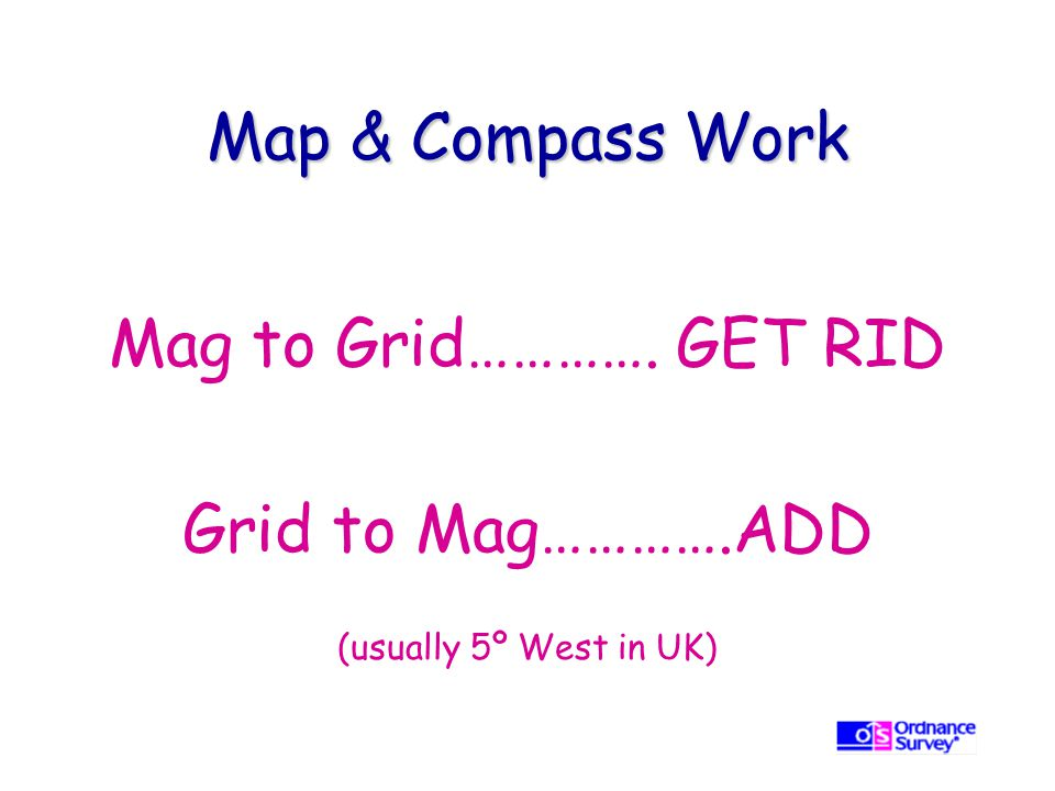 Map & Compass Work Mag to Grid…………. GET RID Grid to Mag………….ADD (usually 5º West in UK)