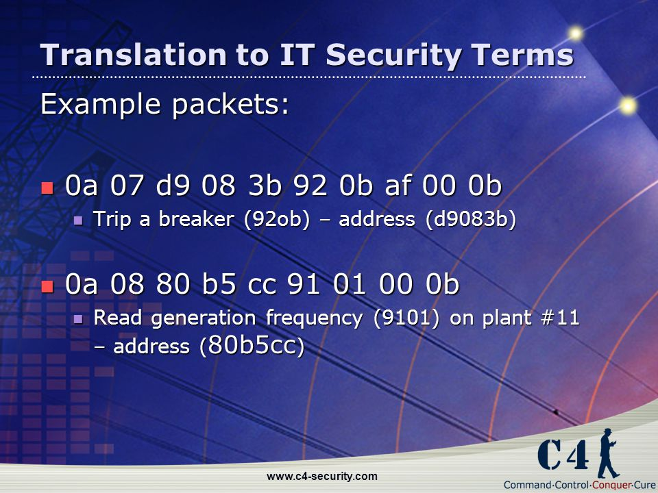 www.c4-security.com Translation to IT Security Terms Example packets: 0a 07 d9 08 3b 92 0b af 00 0b 0a 07 d9 08 3b 92 0b af 00 0b Trip a breaker (92ob
