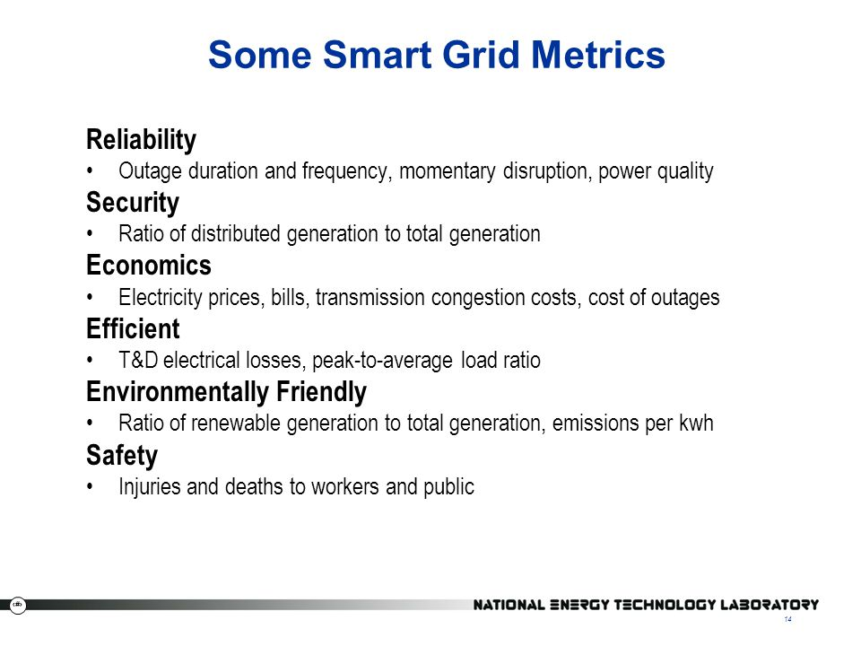 14 Some Smart Grid Metrics Reliability Outage duration and frequency, momentary disruption, power quality Security Ratio of distributed generation to