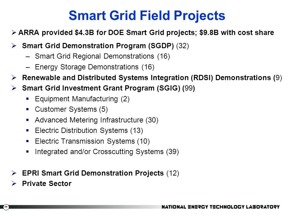 5  ARRA provided $4.3B for DOE Smart Grid projects; $9.8B with cost share  Smart Grid Demonstration Program (SGDP) (32) –Smart Grid Regional Demonst