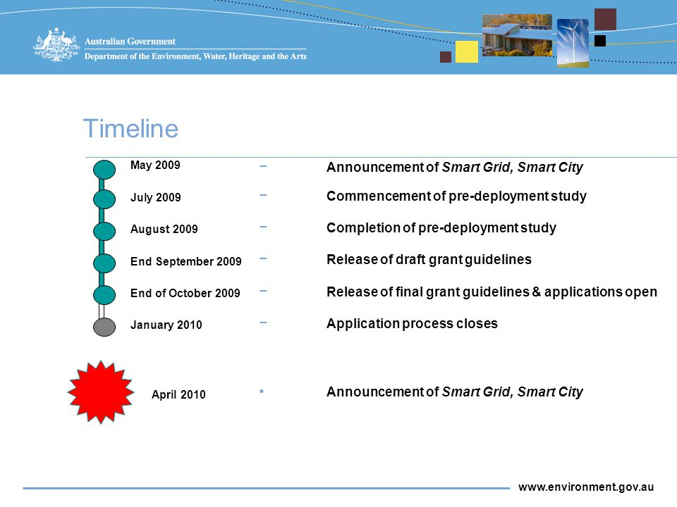 www.environment.gov.au Timeline May 2009 July 2009 August 2009 End September 2009 April 2010 End of October 2009 January 2010 − Announcement of Smart Grid, Smart City − Commencement of pre-deployment study − Completion of pre-deployment study − Release of draft grant guidelines − Release of final grant guidelines & applications open − Application process closes Announcement of Smart Grid, Smart City