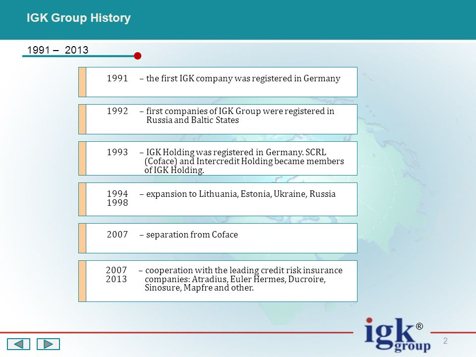 2 1991 – 2013 IGK Group History 1991 – the first IGK company was registered in Germany 1992 – first companies of IGK Group were registered in Russia and Baltic States 1993 – IGK Holding was registered in Germany.