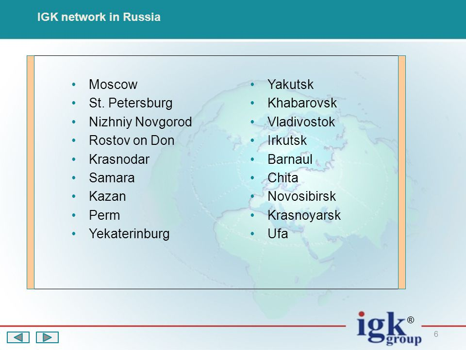 6 IGK network in Russia Moscow St.