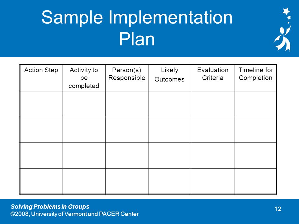 12 Solving Problems in Groups ©2008, University of Vermont and PACER Center Sample Implementation Plan Action StepActivity to be completed Person(s) Responsible Likely Outcomes Evaluation Criteria Timeline for Completion