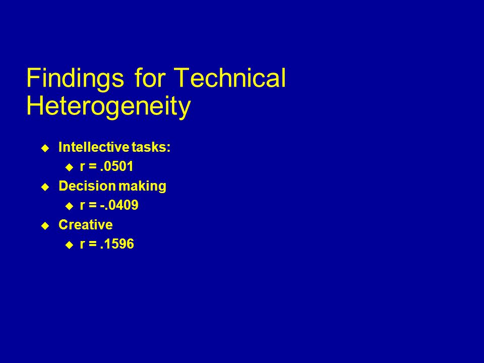 Findings for Personal Heterogeneity  Performance tasks: u r =.0186  Intellective tasks: u r =.1324  Decision making u r =.1269  Creative u r =.1660  Mixed motive u r =.1565