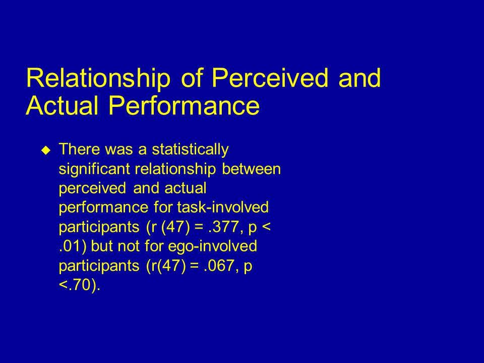  The proportion of ego-involved participants who derogated the feedback (.23) was larger than the proportion of task involved participants who derogated the feedback (.02),  2 (1, 20) = 9.51, p <.01.