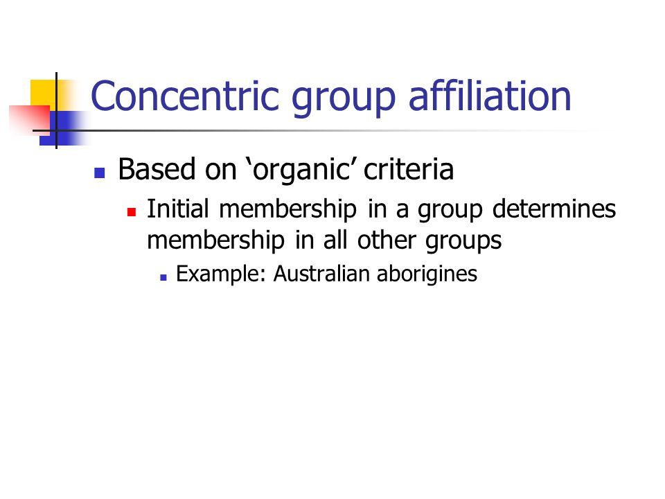 Concentric group affiliation Based on 'organic' criteria Initial membership in a group determines membership in all other groups Example: Australian aborigines