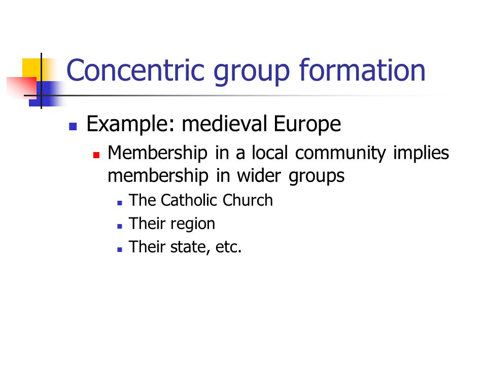 Concentric group formation Example: medieval Europe Membership in a local community implies membership in wider groups The Catholic Church Their regio