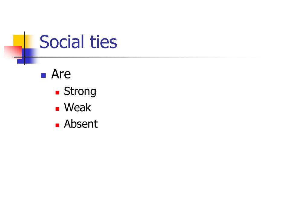 Social ties Are Strong Weak Absent
