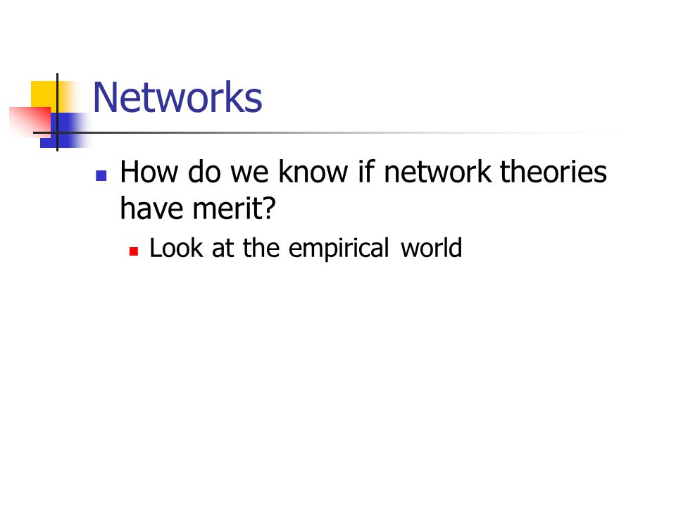 Networks How do we know if network theories have merit Look at the empirical world