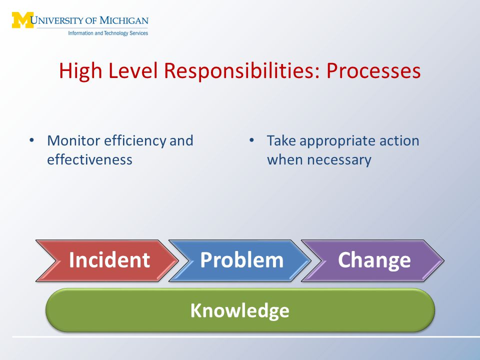 High Level Responsibilities: Processes Monitor efficiency and effectiveness Knowledge IncidentProblemChange Take appropriate action when necessary