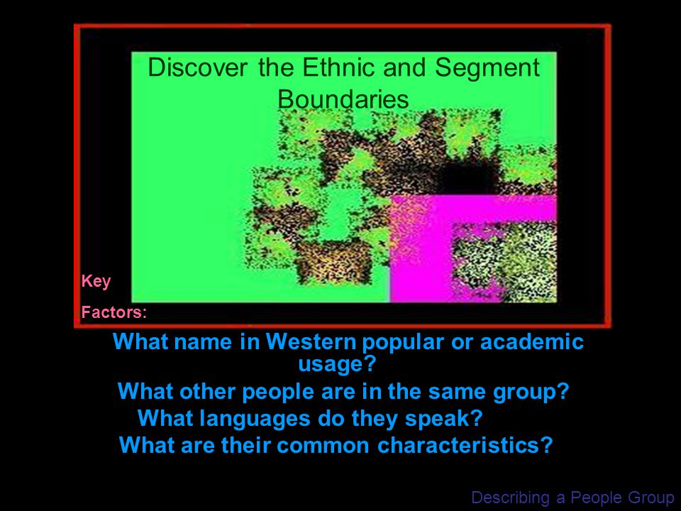 Describing a People Group What name in Western popular or academic usage? What other people are in the same group? What languages do they speak? What