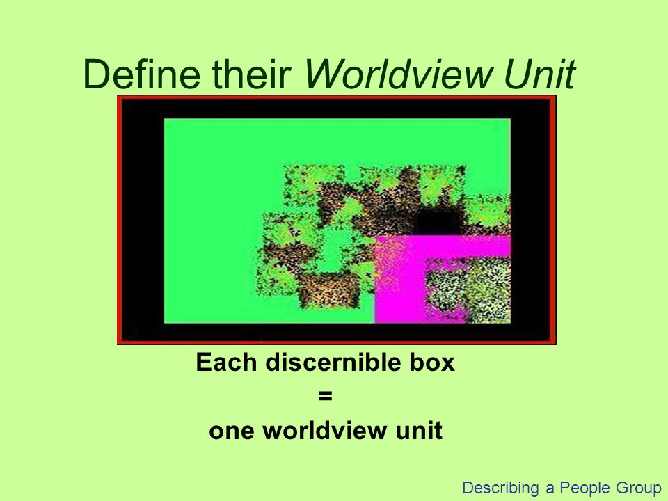 Describing a People Group Each discernible box = one worldview unit Define their Worldview Unit