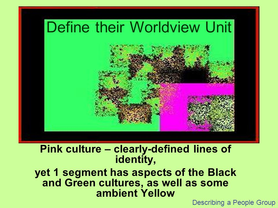 Describing a People Group Ethnicity or Segment -- Perspective What kind of changes do you wish to result.
