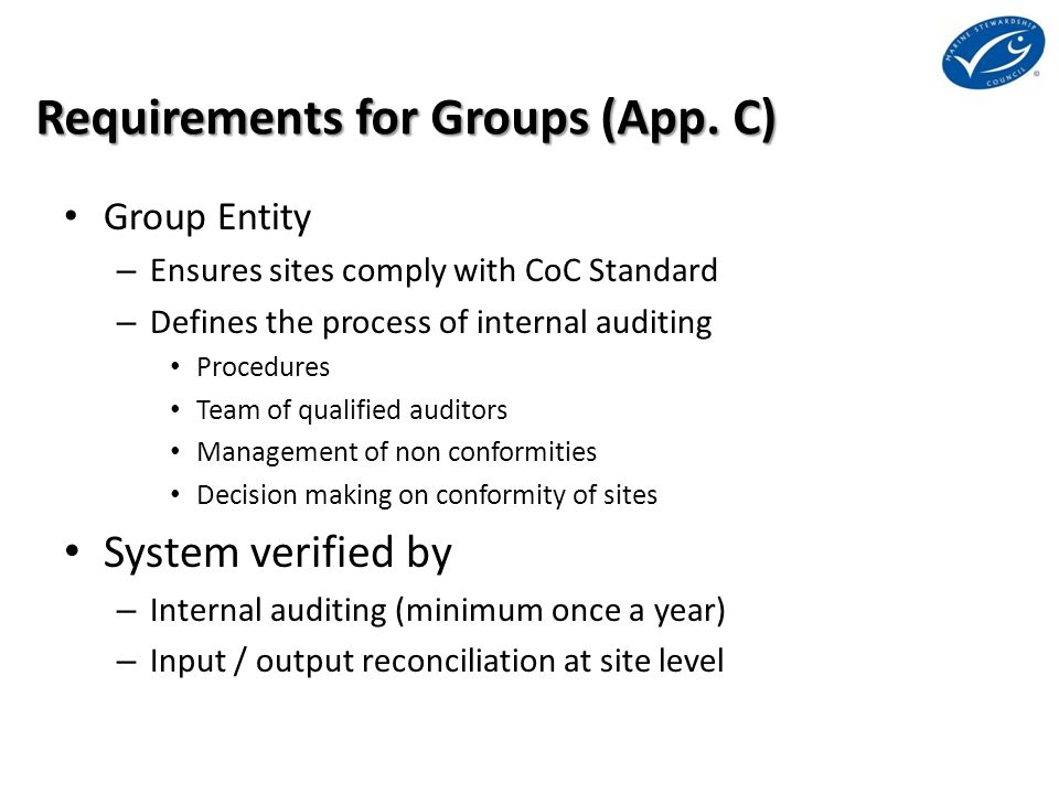 Requirements for Groups (App.