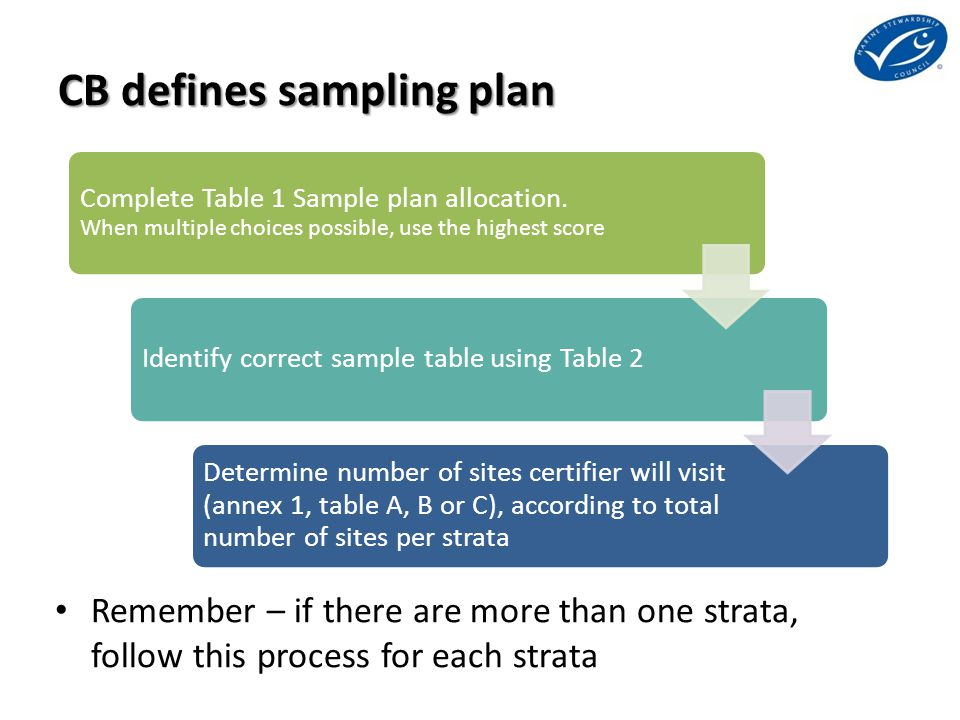 CB defines sampling plan Remember – if there are more than one strata, follow this process for each strata Complete Table 1 Sample plan allocation. Wh