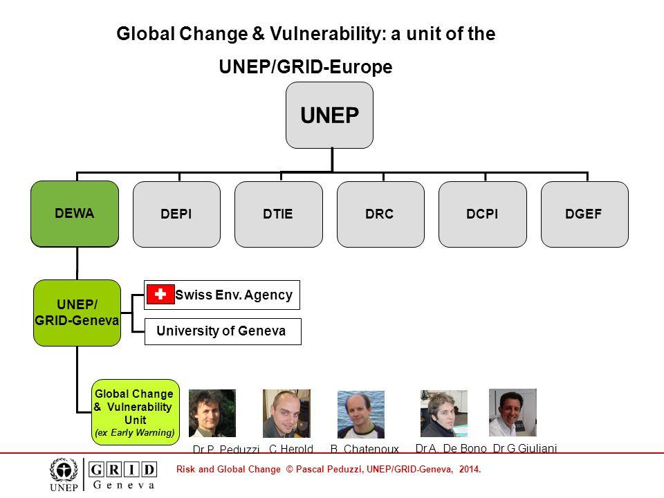 Risk and Global Change © Pascal Peduzzi, UNEP/GRID-Geneva, 2014. UNEP DEWADEPIDRCDGEFDCPIDTIE DEWA UNEP/ GRID-Geneva Global Change & Vulnerability Uni