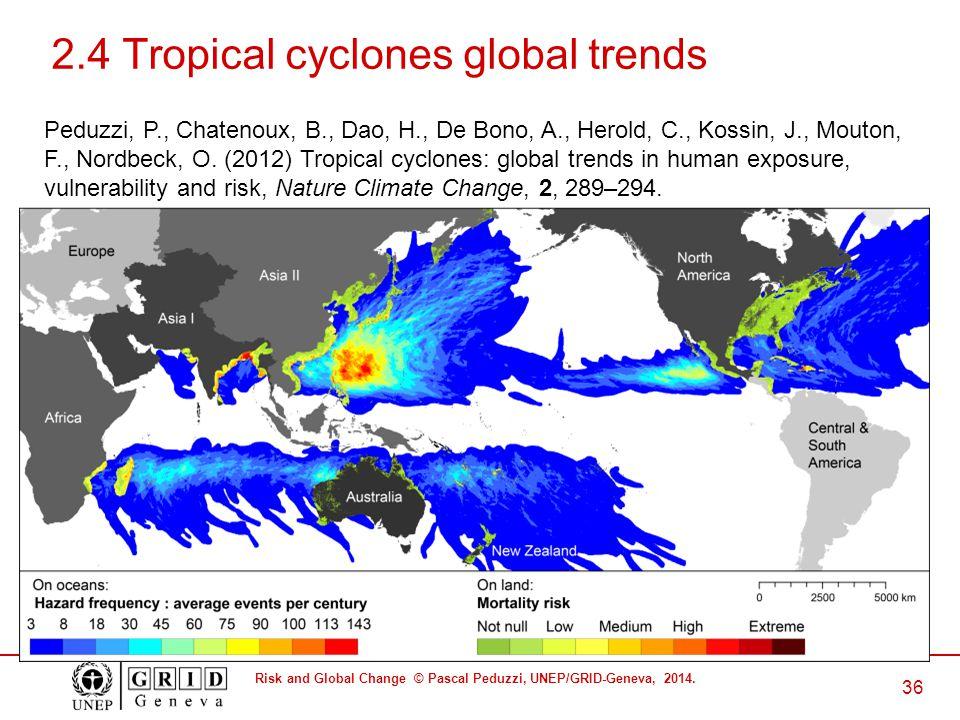 Risk and Global Change © Pascal Peduzzi, UNEP/GRID-Geneva, 2014. 36 2.4 Tropical cyclones global trends Peduzzi, P., Chatenoux, B., Dao, H., De Bono,