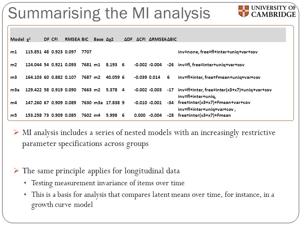 Summarising the MI analysis  MI analysis includes a series of nested models with an increasingly restrictive parameter specifications across groups 