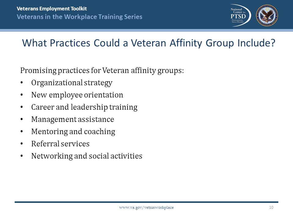 Veterans Employment Toolkit Veterans in the Workplace Training Series www.va.gov/vetsinworkplace Promising practices for Veteran affinity groups: Organizational strategy New employee orientation Career and leadership training Management assistance Mentoring and coaching Referral services Networking and social activities What Practices Could a Veteran Affinity Group Include.