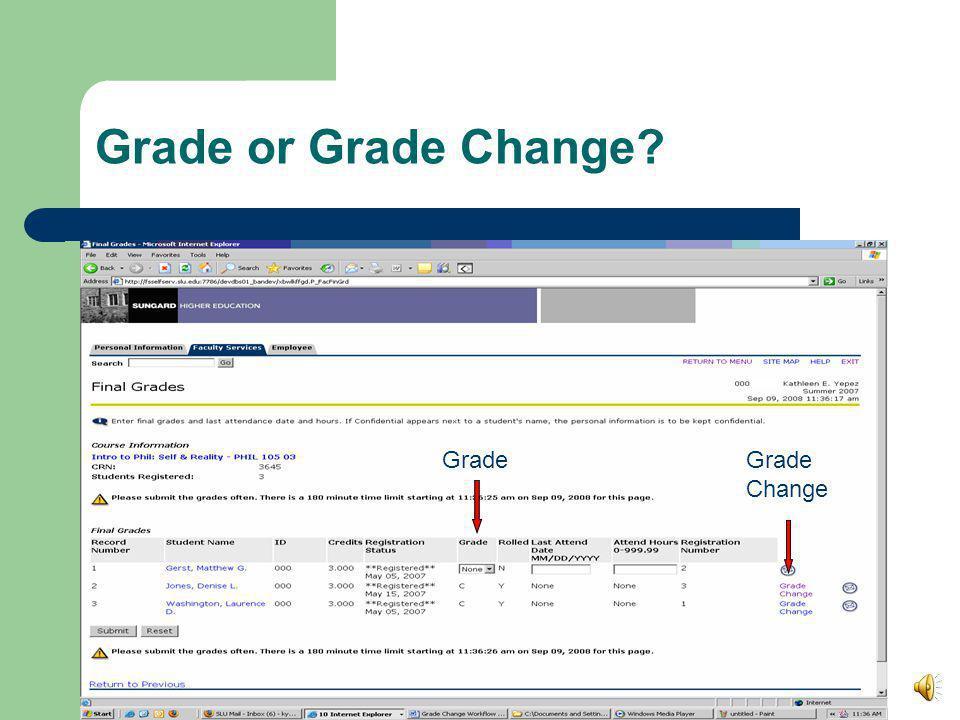 Open Class List Grade Change