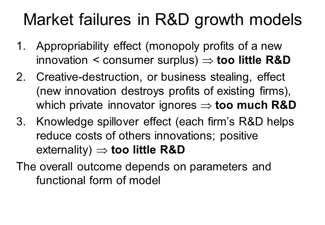 Market failures in R&D growth models 1.Appropriability effect (monopoly profits of a new innovation < consumer surplus)  too little R&D 2.Creative-de
