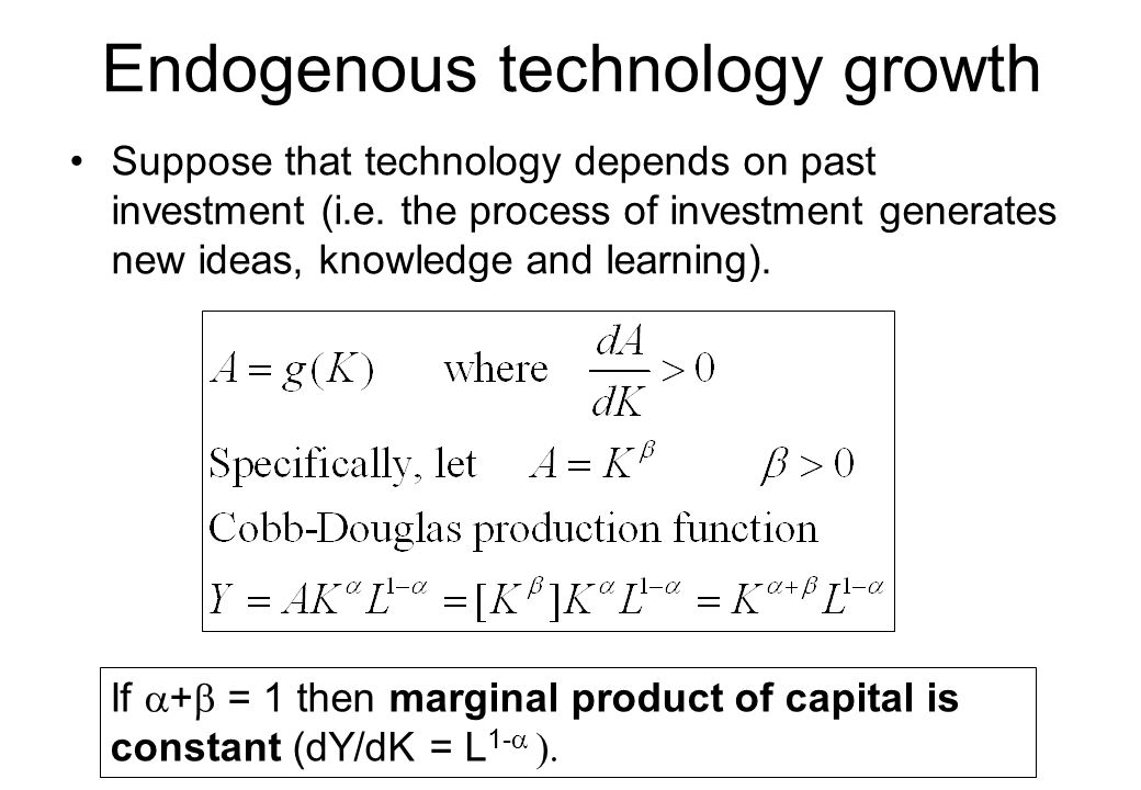 Market failures in R&D growth models 1.Appropriability effect (monopoly profits of a new innovation < consumer surplus)  too little R&D 2.Creative-destruction, or business stealing, effect (new innovation destroys profits of existing firms), which private innovator ignores  too much R&D 3.Knowledge spillover effect (each firm's R&D helps reduce costs of others innovations; positive externality)  too little R&D The overall outcome depends on parameters and functional form of model