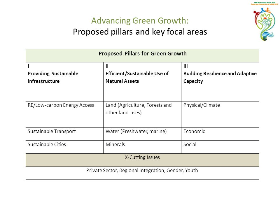 Advancing Green Growth: Proposed pillars and key focal areas Proposed Pillars for Green Growth I Providing Sustainable Infrastructure II Efficient/Sus