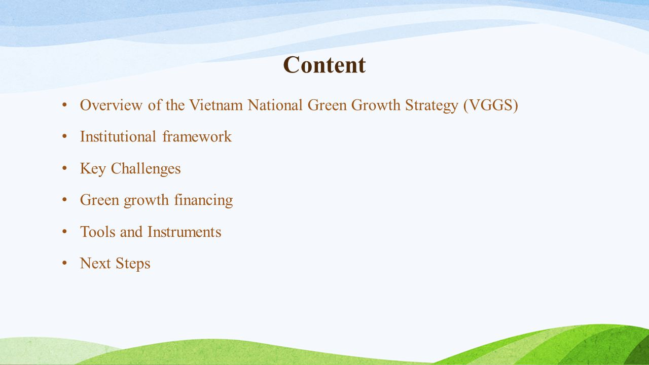 Content Overview of the Vietnam National Green Growth Strategy (VGGS) Institutional framework Key Challenges Green growth financing Tools and Instrume