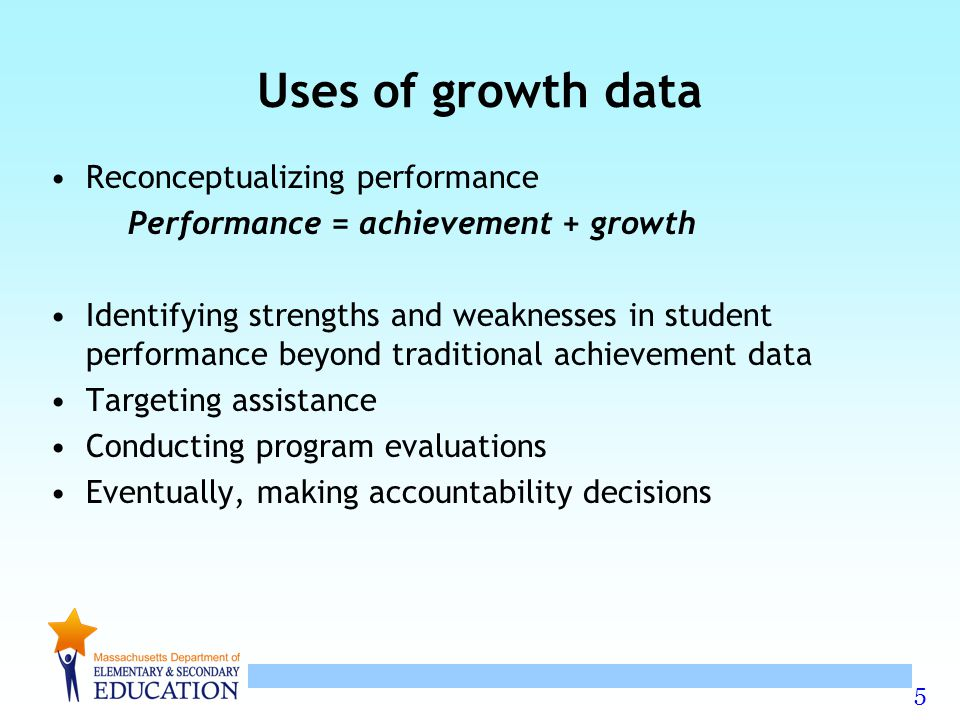 6 Student growth percentiles Each student's rate of change is compared to other students with a similar test score history ( academic peers ) The rate of change is expressed as a percentile.