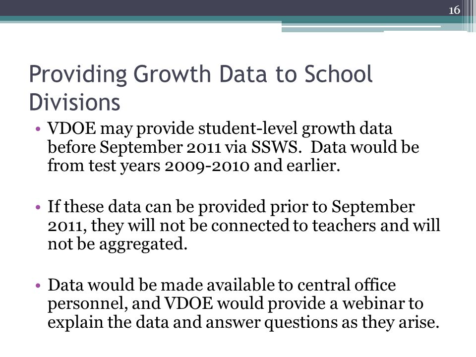 Providing Growth Data to School Divisions VDOE may provide student-level growth data before September 2011 via SSWS.