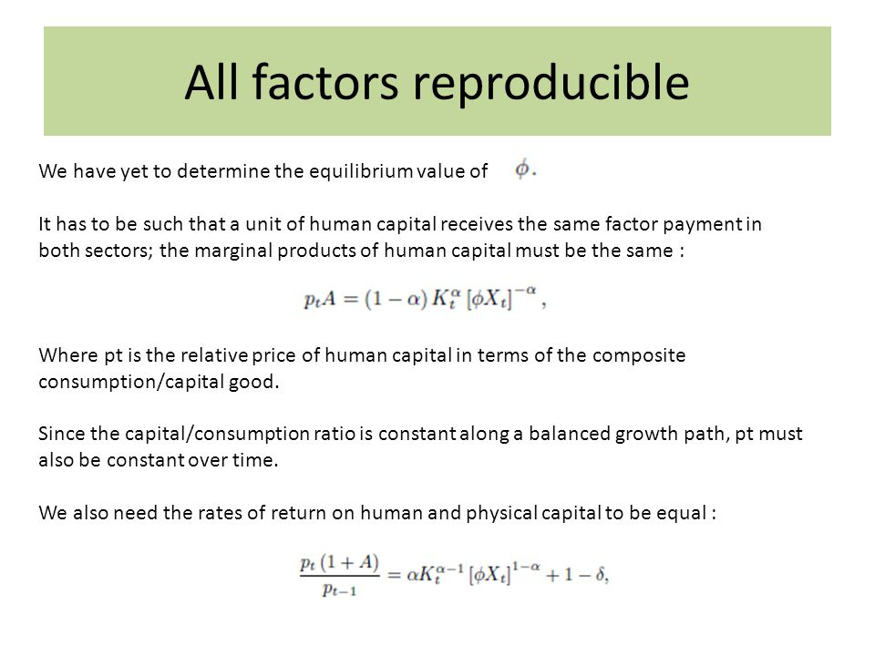 All factors reproducible We have yet to determine the equilibrium value of I It has to be such that a unit of human capital receives the same factor p