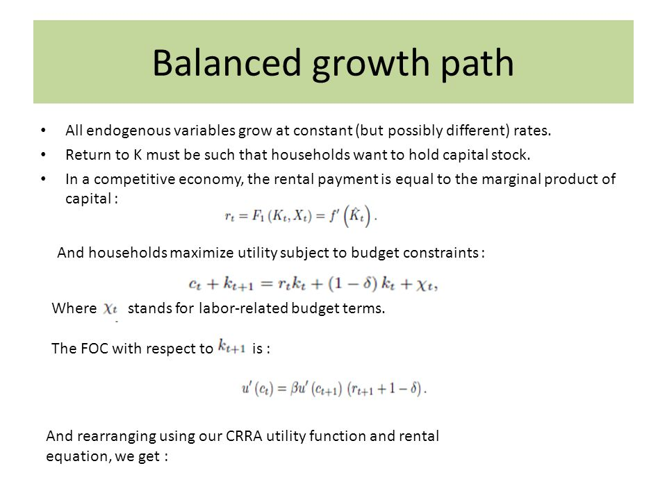 Balanced growth path We can see that a constant consumption growth rate is sustained by a constant rate of return to capital.