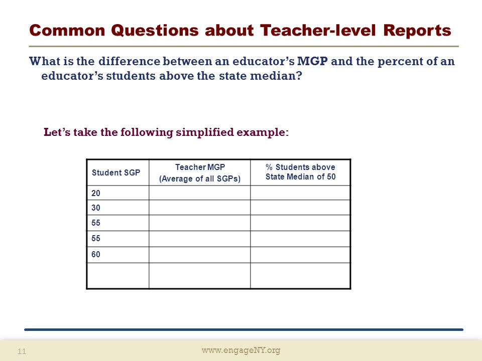 www.engageNY.org 11 www.engageNY.org 11 Common Questions about Teacher-level Reports What is the difference between an educator's MGP and the percent of an educator's students above the state median.