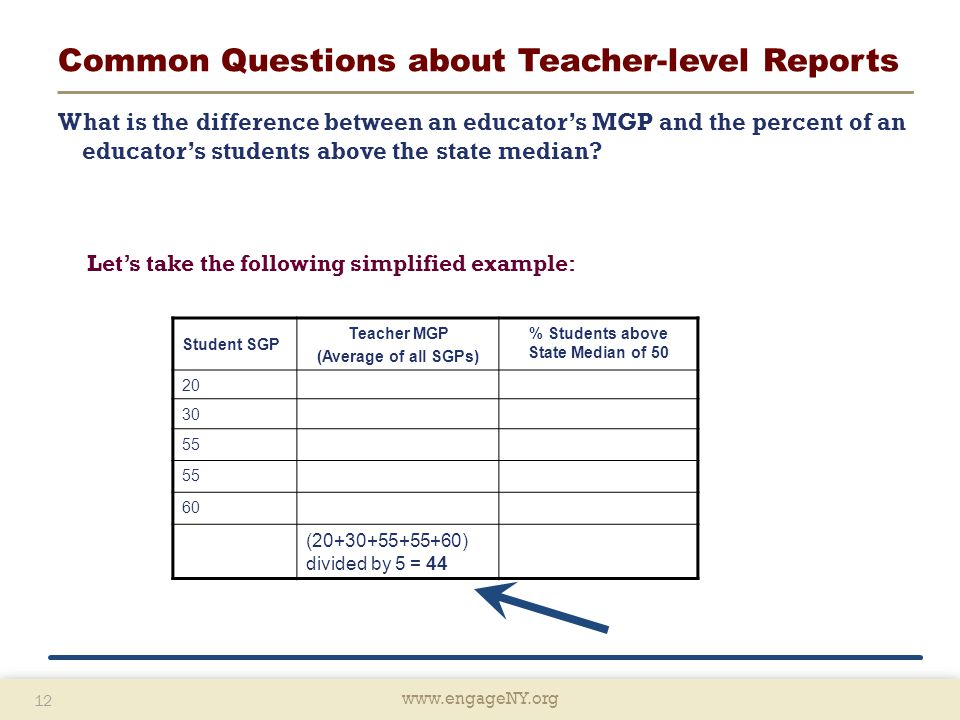 www.engageNY.org 12 www.engageNY.org 12 Common Questions about Teacher-level Reports What is the difference between an educator's MGP and the percent of an educator's students above the state median.